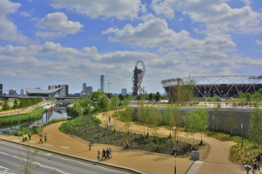 London's Queen Elizabeth Olympic Park featuring, from left to right, Zaha Hadid's Aquatics Centre, the