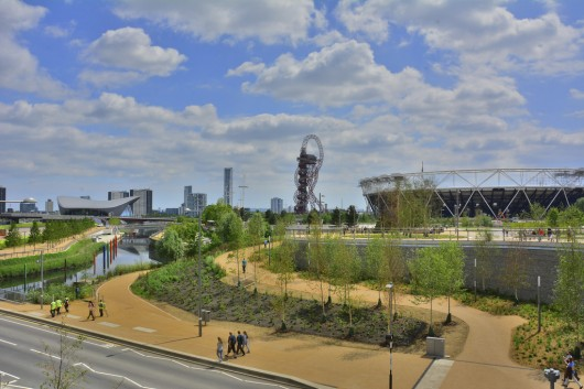 London's Queen Elizabeth Olympic Park featuring, from left to right, Zaha Hadid-_-s Aquatics Centre, the ArcelorMittal Orbit, and the Olympic Stadium by Populous. The Olympicopolis site is on the far left. Image © Flickr CC user Martin Pettitt