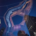 Janet Echelman Suspends Massive Aerial Sculpture Over Boston's Greenway © Peter Vanderwarker