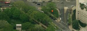Peace Corps commemorative site, Washington, D.C. Source: Bing Maps. Image via PCCF